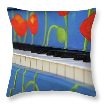 Piano Keys And Flowers Throw Pillow