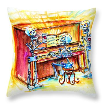 Piano Man Throw Pillow by Heather Calderon