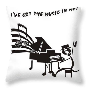 Piano Man Throw Pillow by Maria Watt