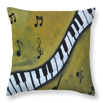Piano Music Abstract Art By Saribelle Throw Pillow by Saribelle Rodriguez