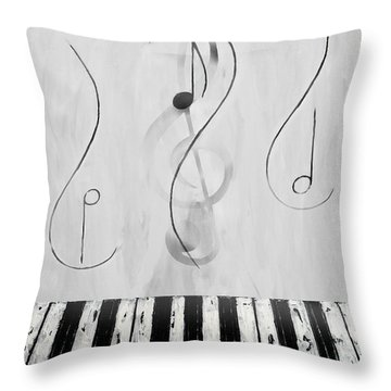 Piano Play B/w Throw Pillow