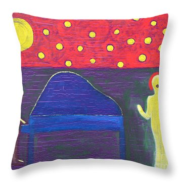 Piano Player And Singer Throw Pillow by Patrick J Murphy