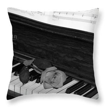 Piano Rose Throw Pillow