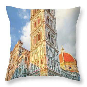 Piazza Del Duomo In Florence Throw Pillow