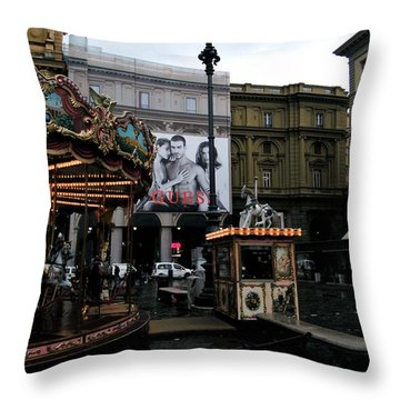 Piazza Della Republica Throw Pillow by Melinda Dare Benfield