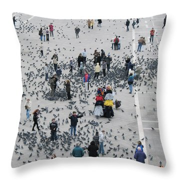 Piazza San Marco Throw Pillow by Bernard Jaubert