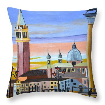 Piazza San Marco Throw Pillow by Donna Blossom