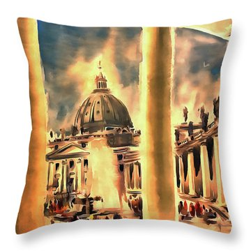 Piazza San Pietro In Roma Italy Throw Pillow