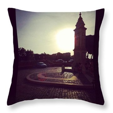 #piazza #square #twilight Throw Pillow by Lorin Braticevici