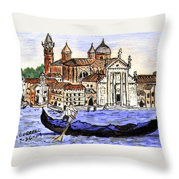 Piazzo San Marco Venice Italy Throw Pillow by Arlene  Wright-Correll