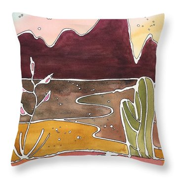 Picacho Peak Throw Pillow by Barbara Tibbets