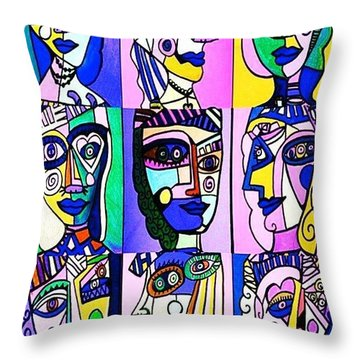 Picasso Blue Women Throw Pillow