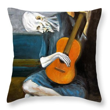 Picasso's Old Guitarist Throw Pillow