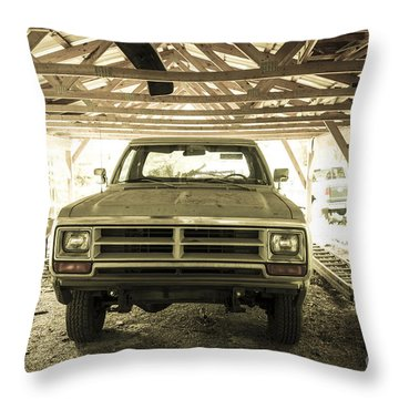 Pick Up Truck In Rural Farm Setting Throw Pillow