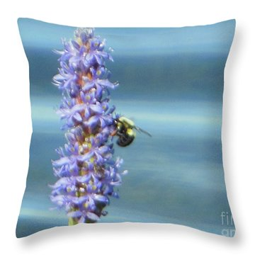 Pickerelweed Bumble Bee Throw Pillow