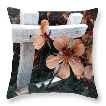 Picket Fence Blooms Throw Pillow