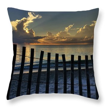 Picket Fence On The Beach Throw Pillow
