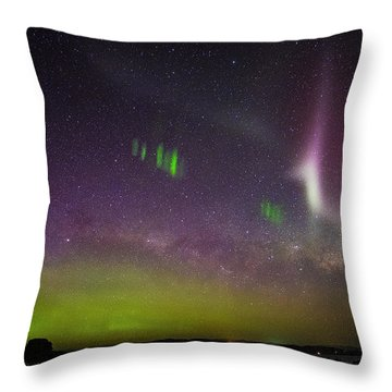 Throw Pillow featuring the photograph Picket Fences And Proton Arc, Aurora Australis by Odille Esmonde-Morgan