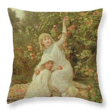 Picking Apples Throw Pillows