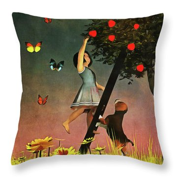 Picking Apples Together Throw Pillow
