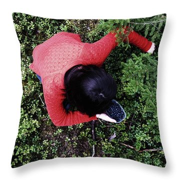Picking Berries In The Woods Throw Pillow