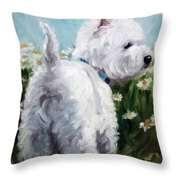 Picking Daisies Throw Pillow by Mary Sparrow