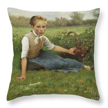 Picking Flowers, 1882 Throw Pillow