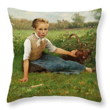 Picking Flowers Throw Pillow