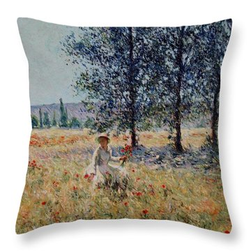 Picking Flowers  Throw Pillow by Pierre Van Dijk