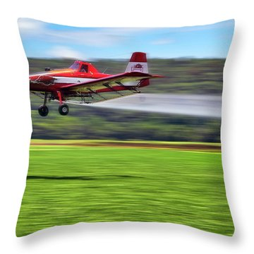 Picking It Up And Putting It Down - Crop Duster - Arkansas Razorbacks Throw Pillow by Jason Politte