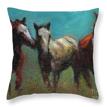 Picking On The New Guy Throw Pillow by Frances Marino