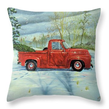 Picking Up The Christmas Tree Throw Pillow