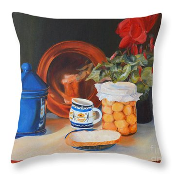 Throw Pillow featuring the painting Pickled Onions by Beatrice Cloake