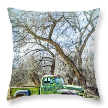 Pickup Under A Tree Throw Pillow