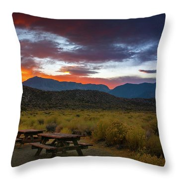 Picnic Tables At Sunset Throw Pillow