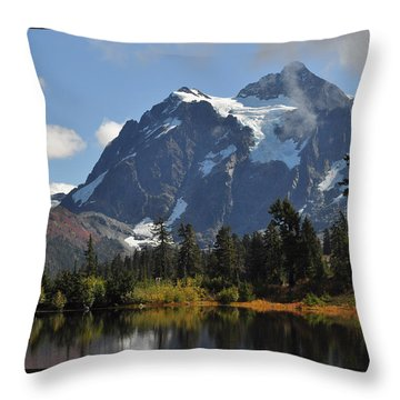 Picture Lake And Mount Shuksan Throw Pillow