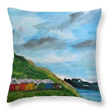 Picture Postcard View Of Scarborough Throw Pillow by Carole Robins
