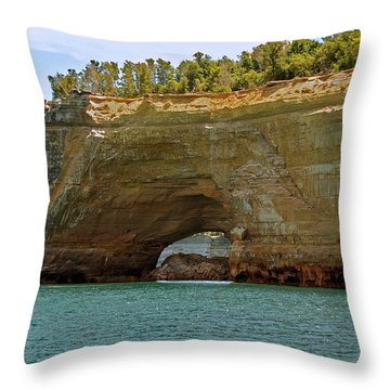 Pictured Rocks Arch Throw Pillow by Michael Peychich