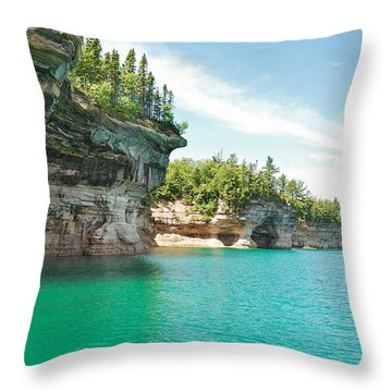 Pictured Rocks Throw Pillow by Michael Peychich