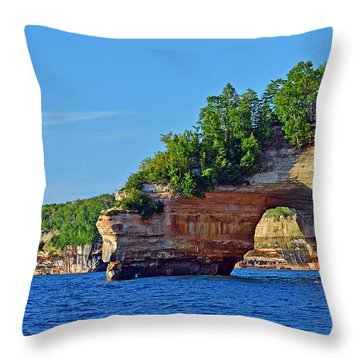 Throw Pillow featuring the photograph Pictured Rocks by Rodney Campbell