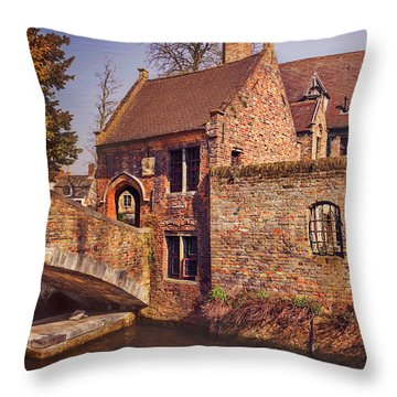 Throw Pillow featuring the photograph Picturesque Bruges  by Carol Japp
