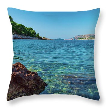 Picturesque Croatia Offers Tourists Pristine Beaches Of The Adriatic, Surrounded By Pine Trees And R Throw Pillow