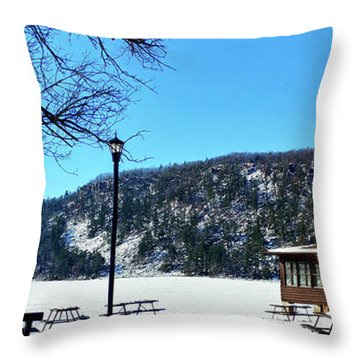 Picturesque Devil's Lake Throw Pillow by Ricky L Jones