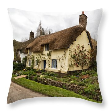 Picturesque Dunster Cottage Throw Pillow