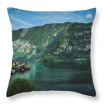 Picturesque Hallstatt Village Throw Pillow