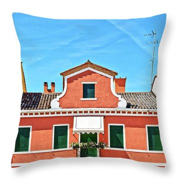 Picturesque House In Burano Throw Pillow