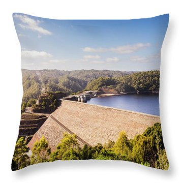 Picturesque Hydroelectric Dam Throw Pillow