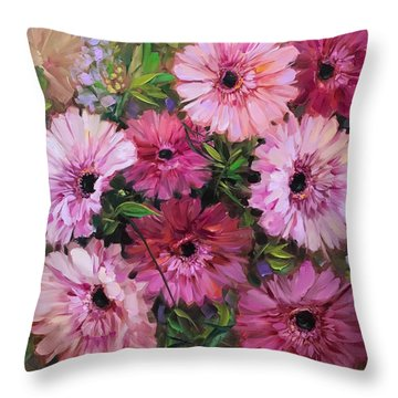 Pieces Of Heaven Pink Daisies Throw Pillow