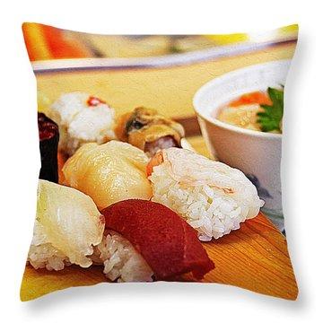 Pieces Of Sashimi Throw Pillow