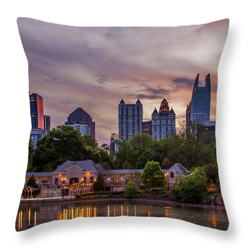 Throw Pillow featuring the photograph Piedmont Park Midtown Atlanta Sunset Art by Reid Callaway